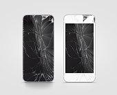 Broken mobile phone screen, black, white, clipping path.