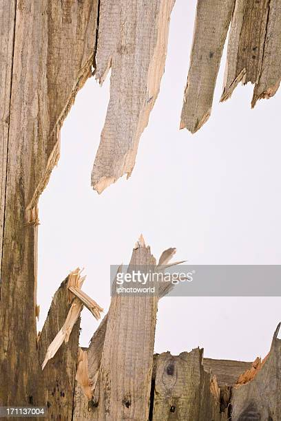 broken old timber fence panel with a hole to the sky - shattered glass stock pictures, royalty-free photos & images