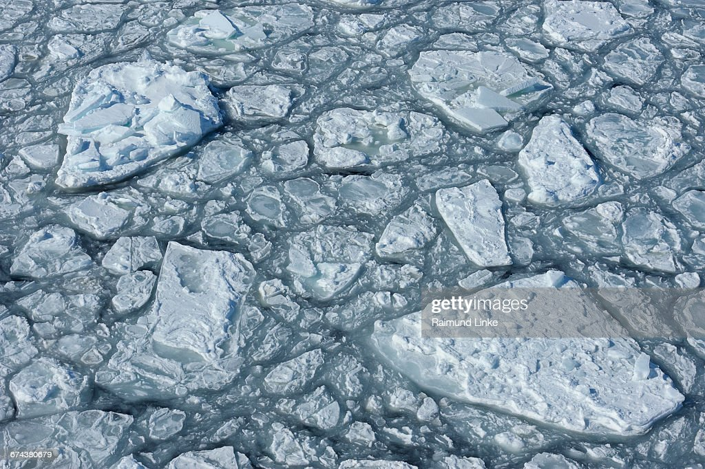 Broken pack ice and reassembled frozen ice floes : Stock Photo