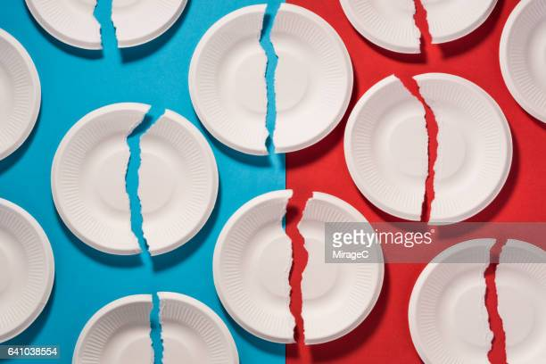 broken paper plates - paper plate stock photos and pictures