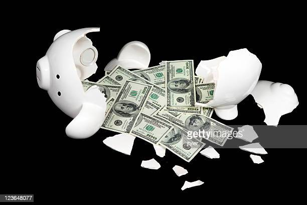 Broken Piggy Bank and One Hundred Dollar Bills