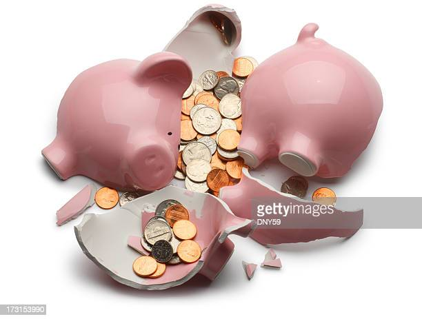 broken piggy bank - piggy bank stock pictures, royalty-free photos & images