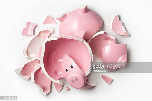 Broken piggy bank.
