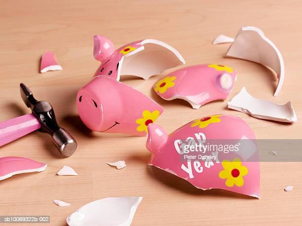 Broken piggy bank, studio shot