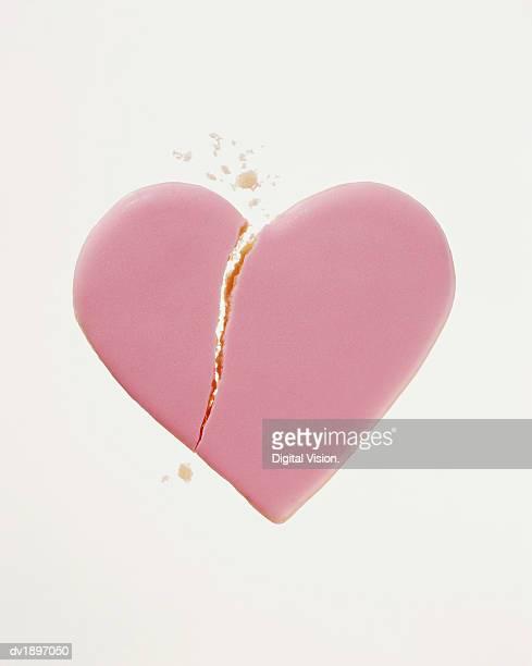 Broken Pink Heart Shaped Cookie