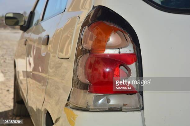 broken rear light of car - beaten up stock pictures, royalty-free photos & images