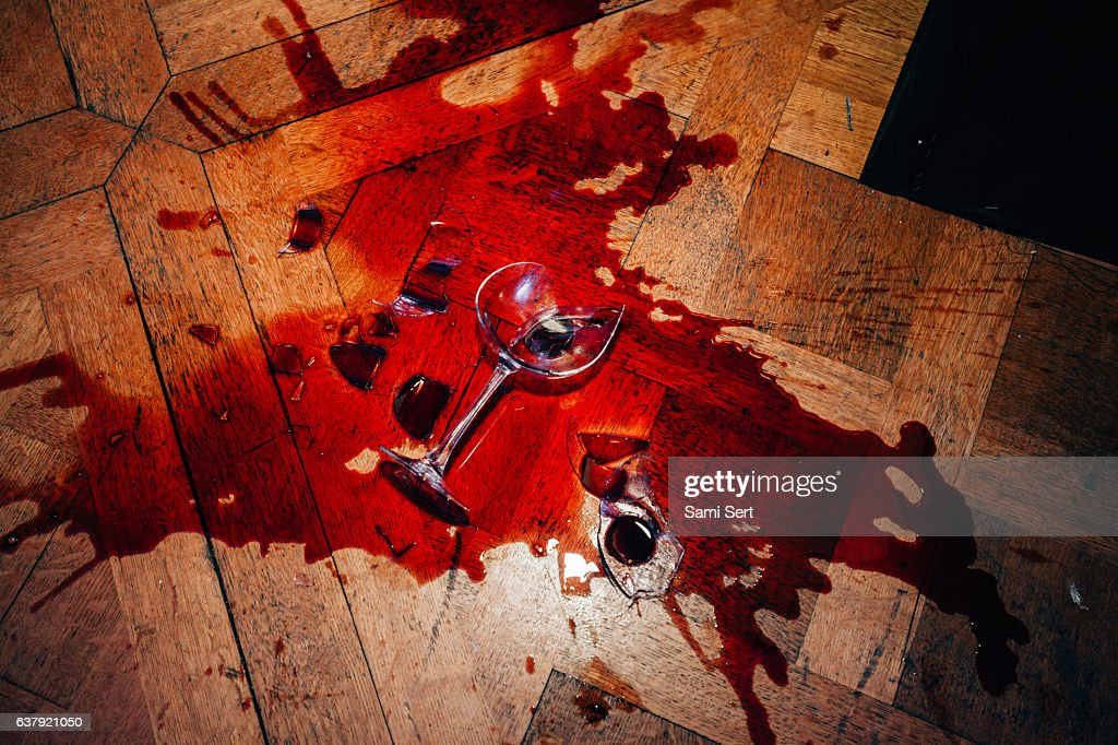 Broken red wine glass : Stock Photo
