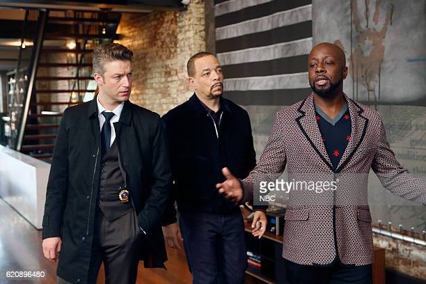 UNIT Broken Rhymes Episode 1807 Pictured Peter Scanavino as Detective Sonny Carisi Ice T as Detective Odafin Fin Tutuola Wyclef Jean as Vincent Love