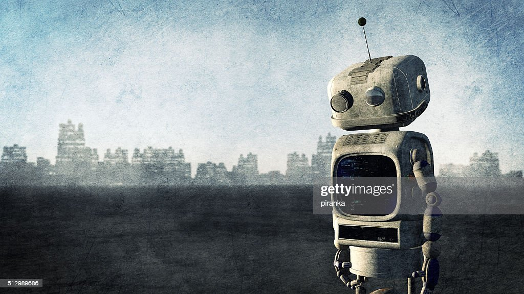 Broken robot before a destroyed city : Stock Photo