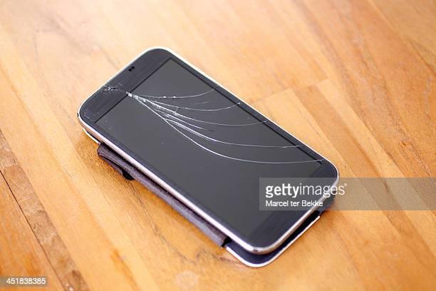 Broken screen on smartphone