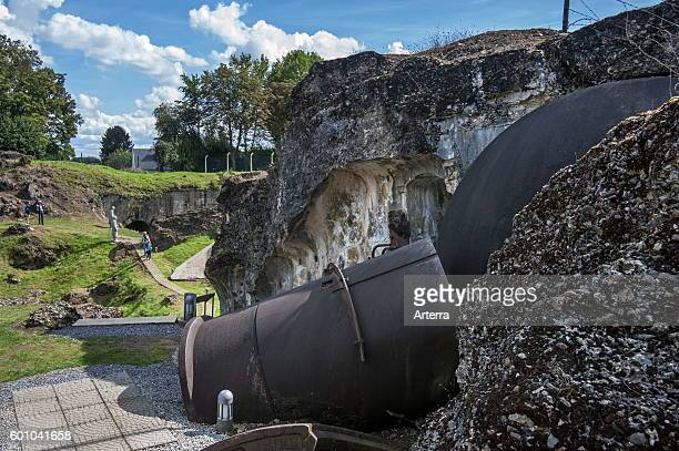 Broken searchlight and debris of the exploded magazine in the Fort de Loncin one of twelve forts built as part of the Fortifications of Liege...