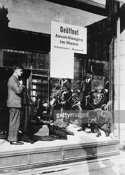 Broken shop windows following a period of rioting in Berlin Germany after the Reichstag opened with a Fascist majority circa 1935