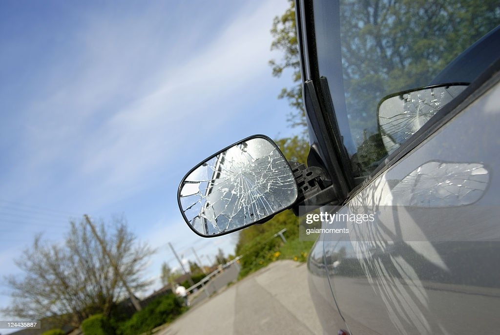 Broken Side-View Mirror : Stock Photo