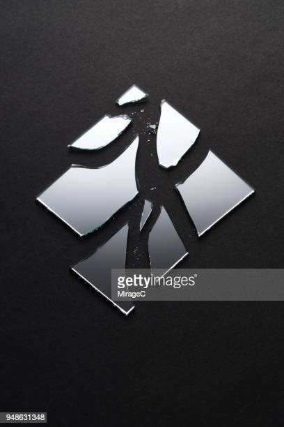 broken square mirror - bad luck stock pictures, royalty-free photos & images