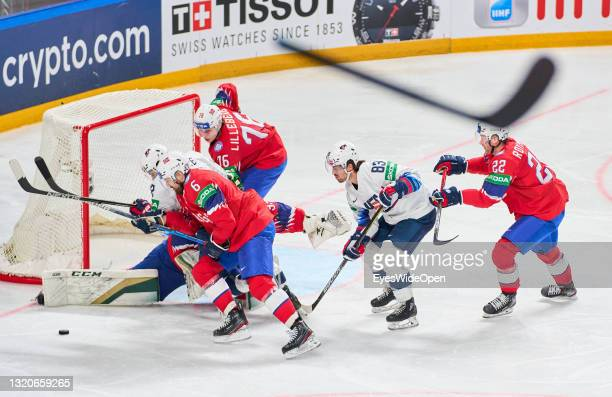 Broken stick of Tage Thompson of the United States in the air during the 2021 IIHF Ice Hockey World Championship group stage game between Norway and...