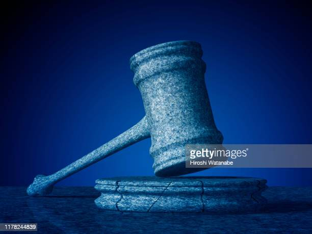 broken stone gavel - justice concept stock pictures, royalty-free photos & images