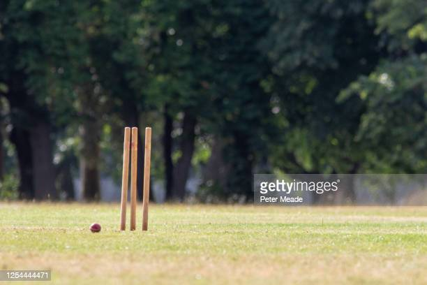 broken stumps - england cricket stock pictures, royalty-free photos & images