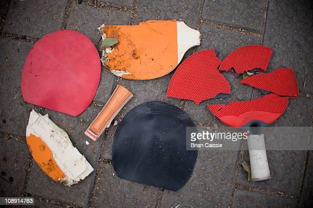 Broken table tennis rackets