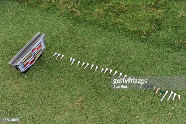 Broken tees are lined up at the fourth hole teebox during the first round of the World Golf ChampionshipsCadillac Championship at Blue Monster Trump...