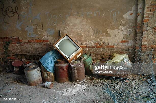 Broken television and other trash
