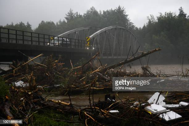 Broken trees seen due to extreme rain falls in Trybsz Southern Poland and northern Slovakia on flood alert due to extreme rain falls