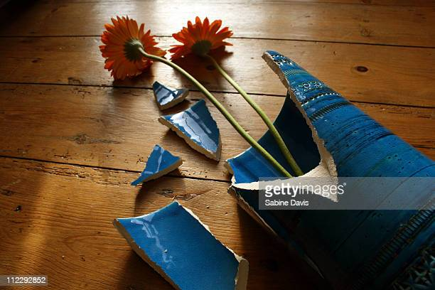 A broken vase with flowers
