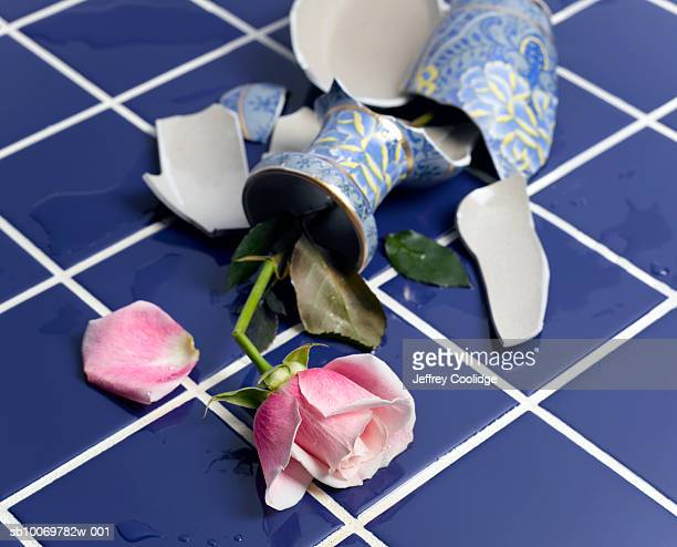 Broken vase with rose on floor
