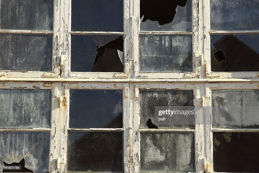 Broken window and glass : Stock Photo