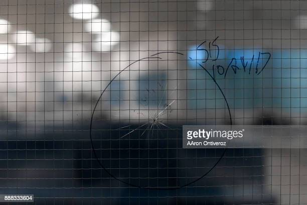 A broken window in the new wing of the Pueblo County Detention Center on Wednesday December 6 2017 The jail which is currently well beyond capacity...