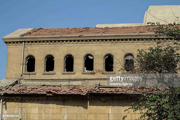 Broken windows are seen after an explosion at Saint Mark's Coptic Orthodox Cathedral in Cairo Egypt on December 11 2016