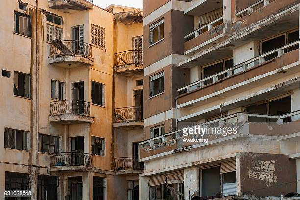 Broken windows of the abandoned hotels are seen in the Varosha quarter on January 5, 2017 in Famagusta, Cyprus. Prior to the Turkish invasion of...