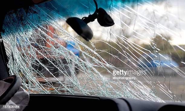 Broken Windshield Car Crash Drunk Driving Accident
