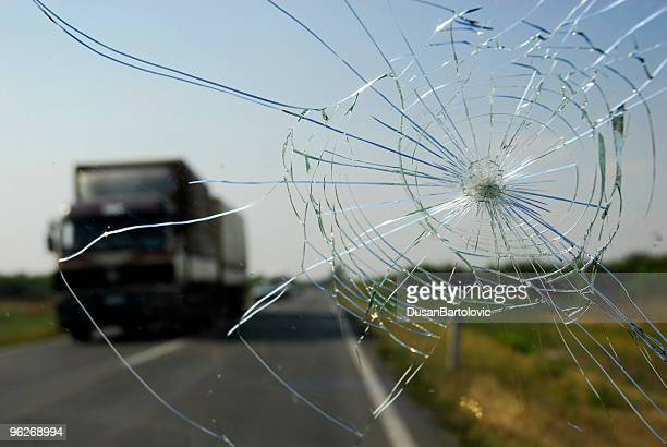broken windshield - crash stock pictures, royalty-free photos & images