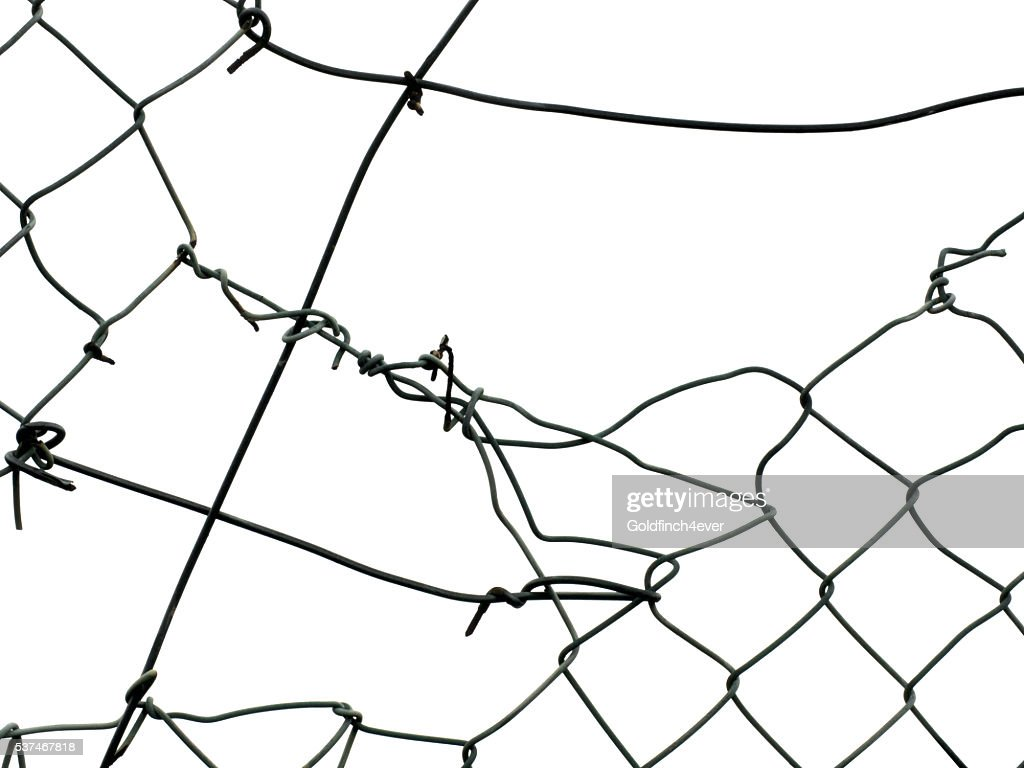 Broken Wire Fence Isolated On White Background Stock Photo | Getty ...
