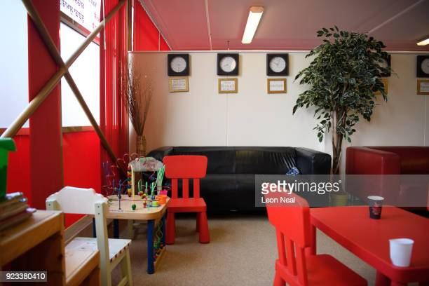 Broken world time clocks are seen in the waiting room of the Yarl's Wood Immigration Detention Centre on February 23 2018 in Bedford England A group...