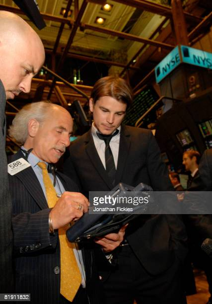 Broker Peter Tuchman shows actor Josh Hartnett and director Austin Chick how to make trades on the floor of the New York Stock Exchange July 11 2008...