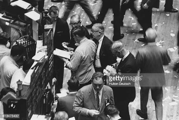 Brokers in action on the trading floor