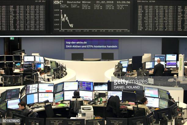 Brokers work at the stock exchange underneath displays showing the German stock market index DAX in Frankfurt, western Germany, on February 21, 2018....