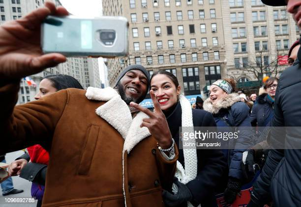 Brokklyn NY councilman Jumaane Williams and member of the US House of Representatives from New York's 14th district Alexandria OcasioCortez attend...