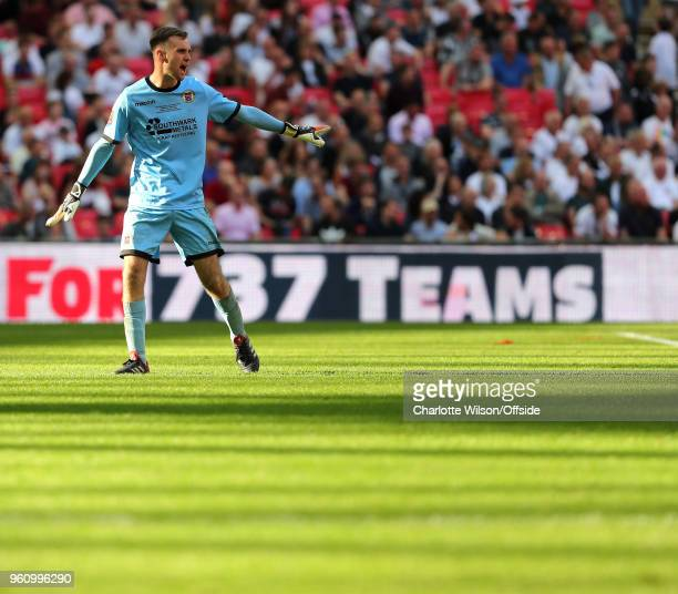 Bromley goalkeeper David Gregory in a pool of light during The Buildbase FA Vase Final between Stockton Town and Thatcham Town at Wembley Stadium on...