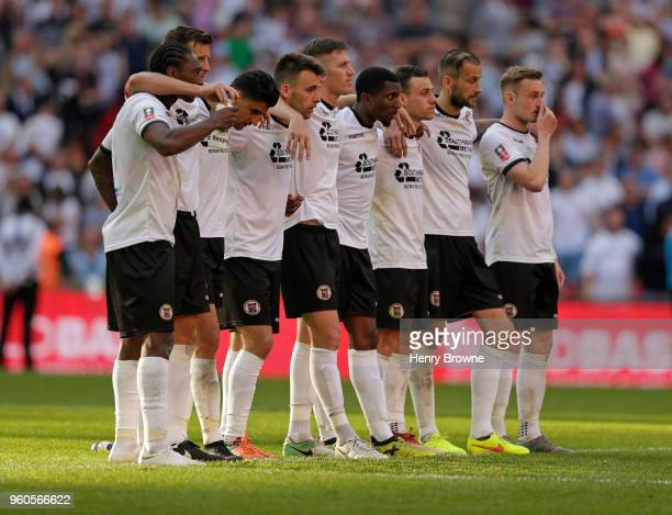 Bromley players during The Builbase FA Trophy Final between Brackley Town and Bromley FC at Wembley Stadium on May 20 2018 in London England
