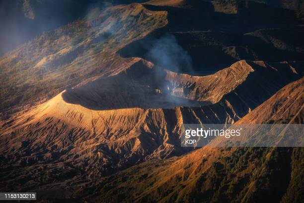 bromo crater in morning sunshines at bromo tengger semeru national park,java,indonesia. - volcanic crater stock pictures, royalty-free photos & images