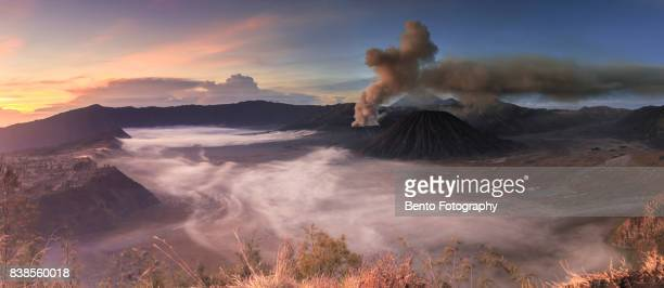 Bromo eruption in panorama