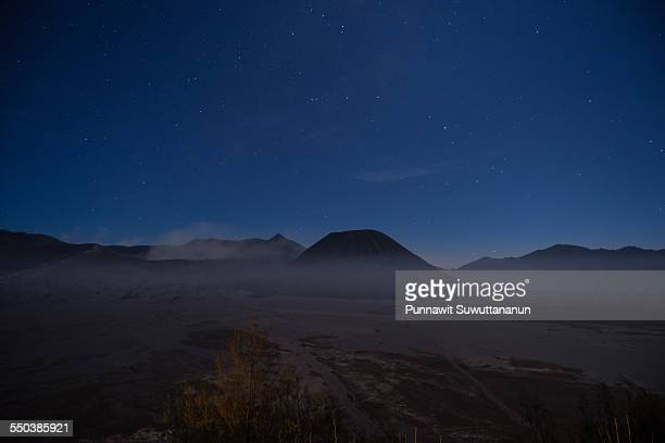 bromo mountain in the moonlight - bromo crater stock pictures, royalty-free photos & images