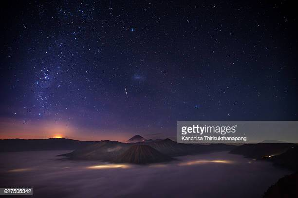 bromo mountain - snow moon stock pictures, royalty-free photos & images