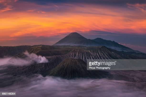 bromo sunrise - bromo crater stock photos and pictures
