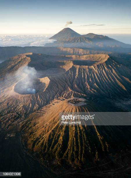 bromo volcano aerial view - volcanic terrain stock pictures, royalty-free photos & images