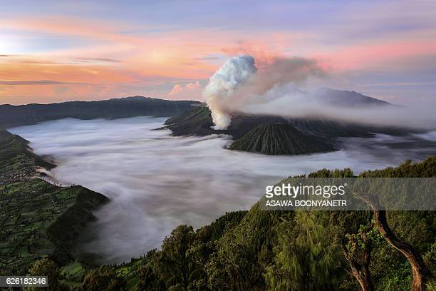 bromo volcano and beautiful twilight time - mt bromo stock photos and pictures