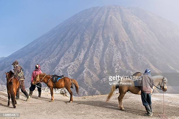 Bromo volcano and porters.