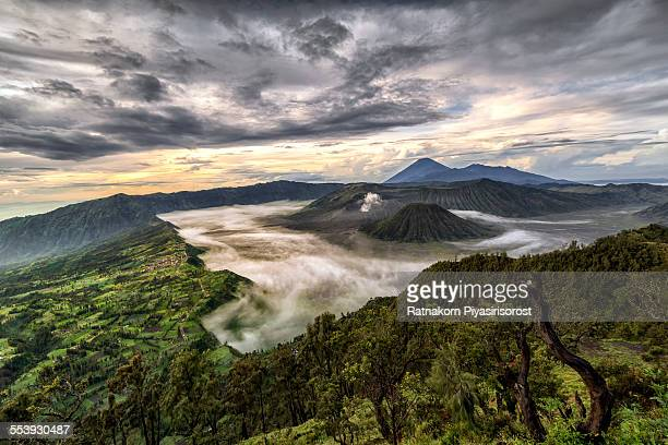 bromo volcano at sunrise - bromo crater stock photos and pictures